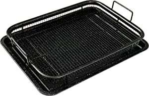 MUSENTIAL 2-Piece Non-Stick Bakeware Set for Oven with Crisper Pan and Cookie Sheet, 13 x 9-Inch (Black, 1-Set)