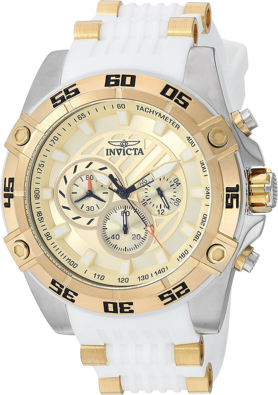 Invicta Men s Speedway Stainless Steel Quartz Watch with Silicone Strap, White, 24 Model 25510