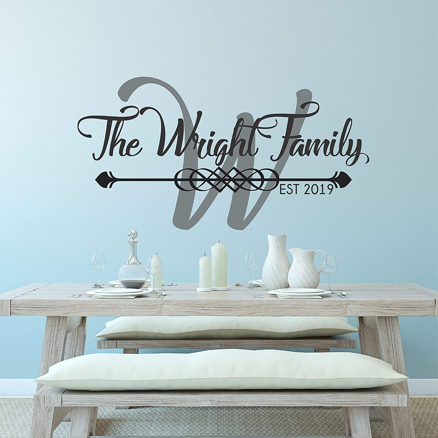 Personalised The Family Name Est Date Wall Stickers Vinyl Art Decals