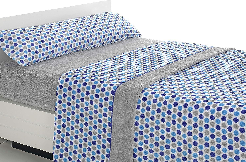 SABANALIA - Juego de sábanas de coralina Happy - Gris-Azul, Cama 150