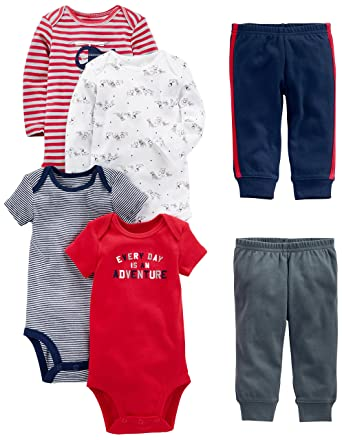 e12ba35e328a Amazon.com  Simple Joys by Carter s Baby Boys  6-Piece Bodysuits ...