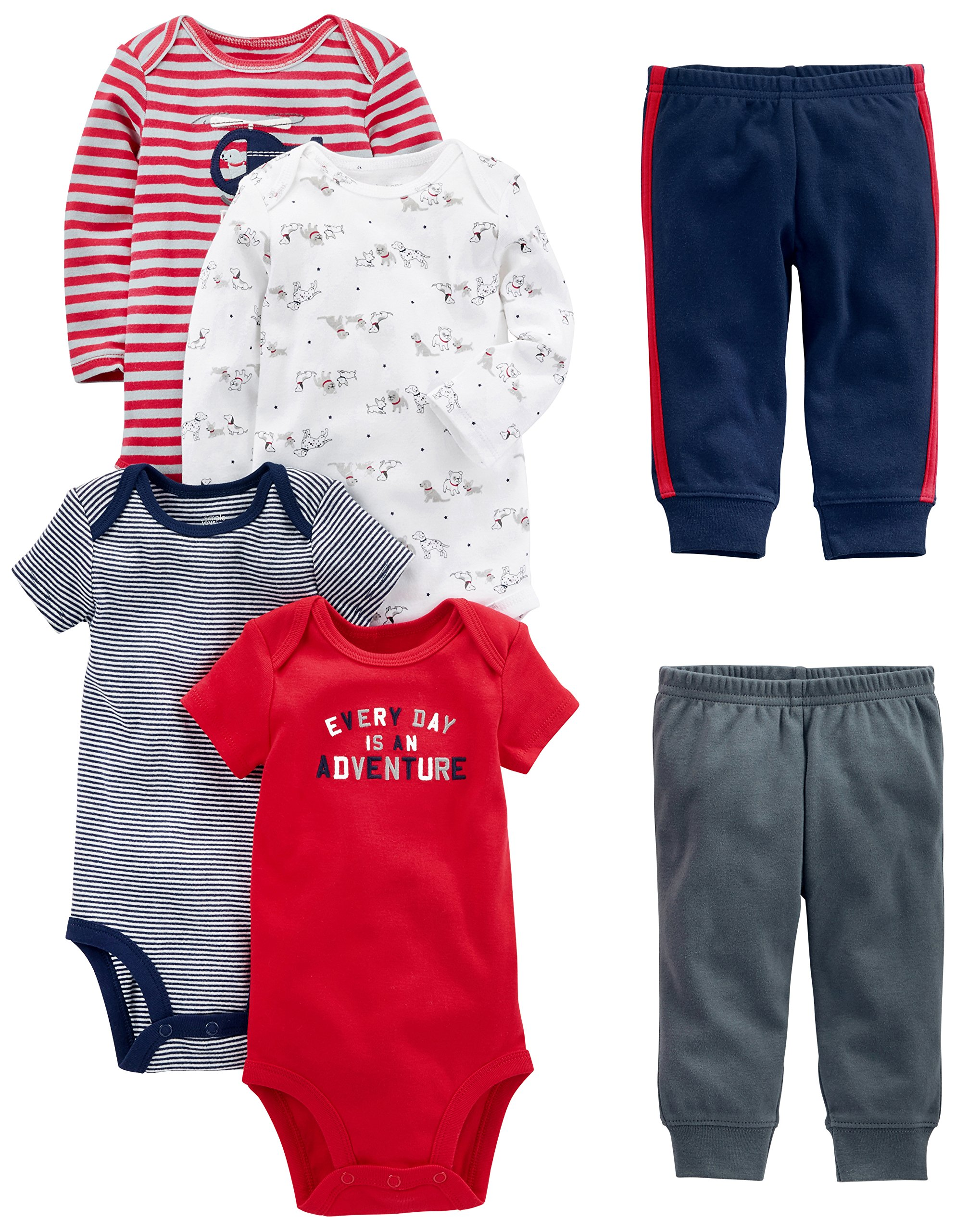 34482f4fe Simple Joys by Carter's Baby Boys' 6-Piece Bodysuits (Short and Long Sleeve