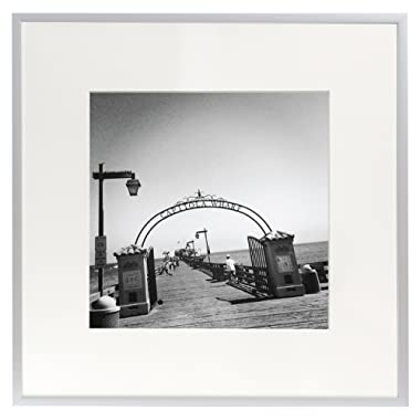 Golden State Art, Metal Wall Photo Frame Collection, Aluminum Silver Photo Frame with Real Glass (12x12)