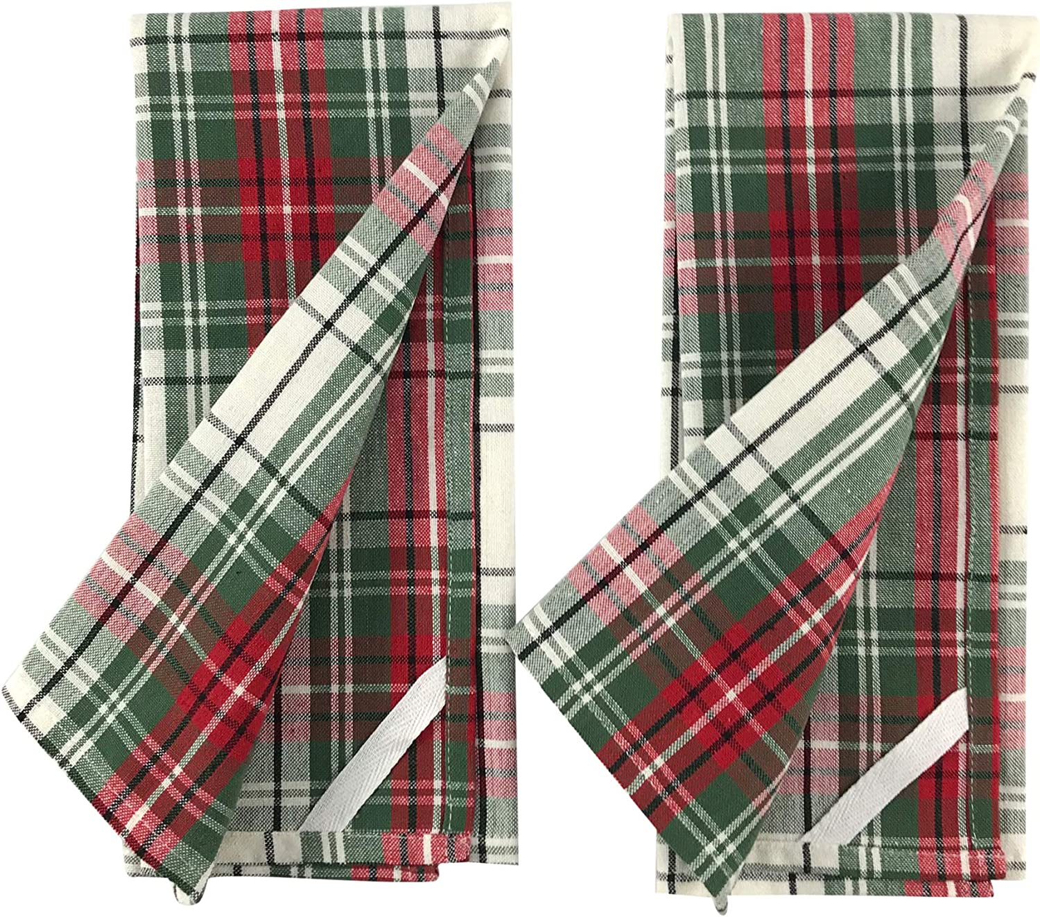 Two Tartan Hand Dish Towels Two Matching Pot Holder with Embroidered Trees and One Mini Spatula Christmas Plaid Trees Kitchen Gift Set