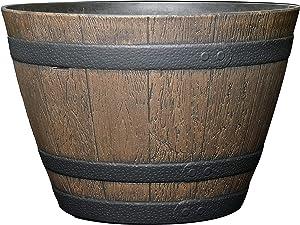 "Classic Home and Garden 72D-037R Whiskey Barrel Planter, 15"", Kentucky Walnut"