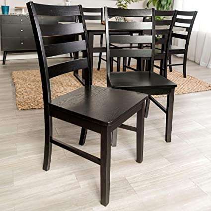 Overstock Wood Ladder Back Dining Chair Set of 2 - N/A Black & Amazon.com - Overstock Wood Ladder Back Dining Chair Set of 2 - N/A ...