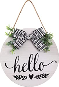 Hello Sign Rustic Front Door Decor Round Wood Sign Farmhouse Spring Welcome Sign for Front Porch Door Hanging Home Outdoor Wall Decor (White)