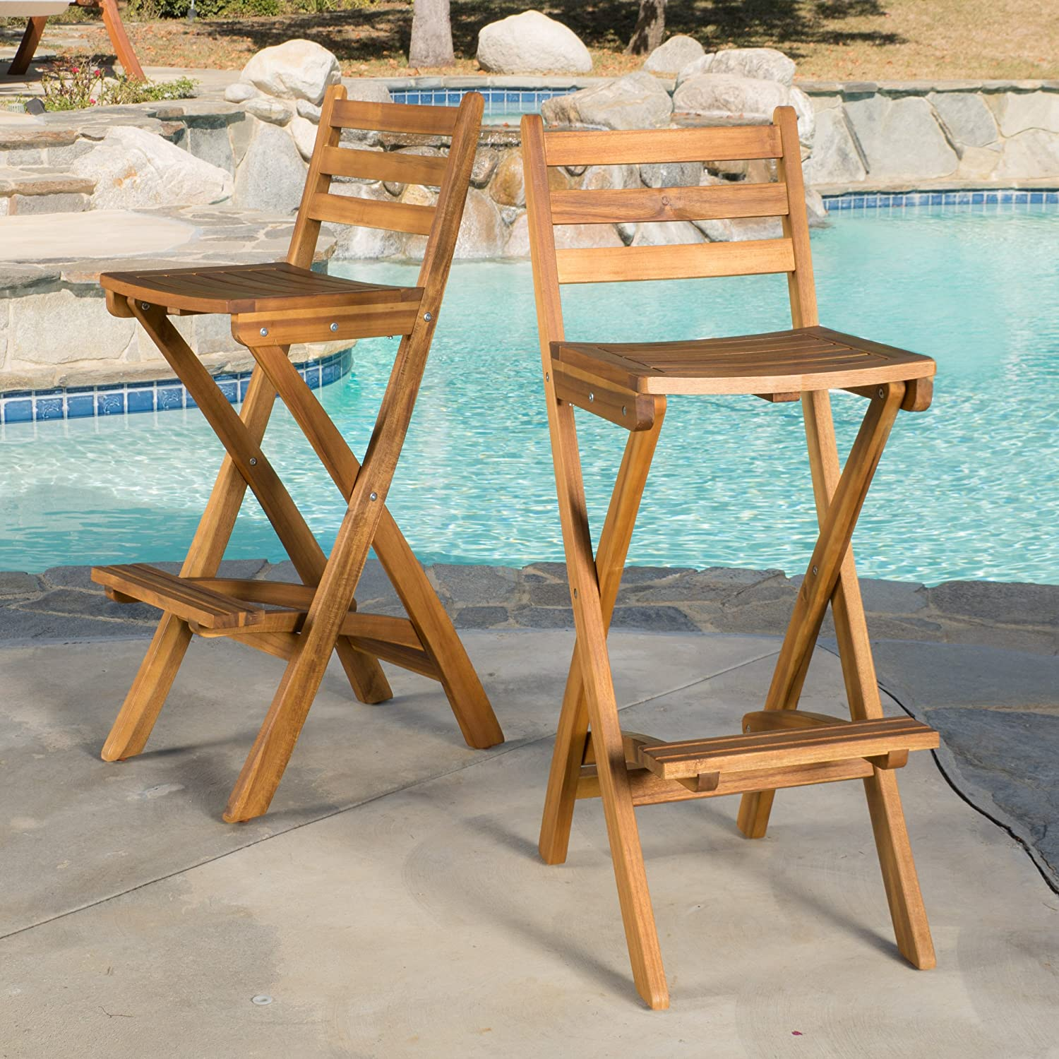 Amazon.com: Atlantic Outdoor Folding Wood Bar Stools (Set of 2 ...
