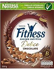 Cereales Nestlé Fitness Delice - Cereales de trigo, maíz y arroz tostados con cacao rellenos de crema con chocolate