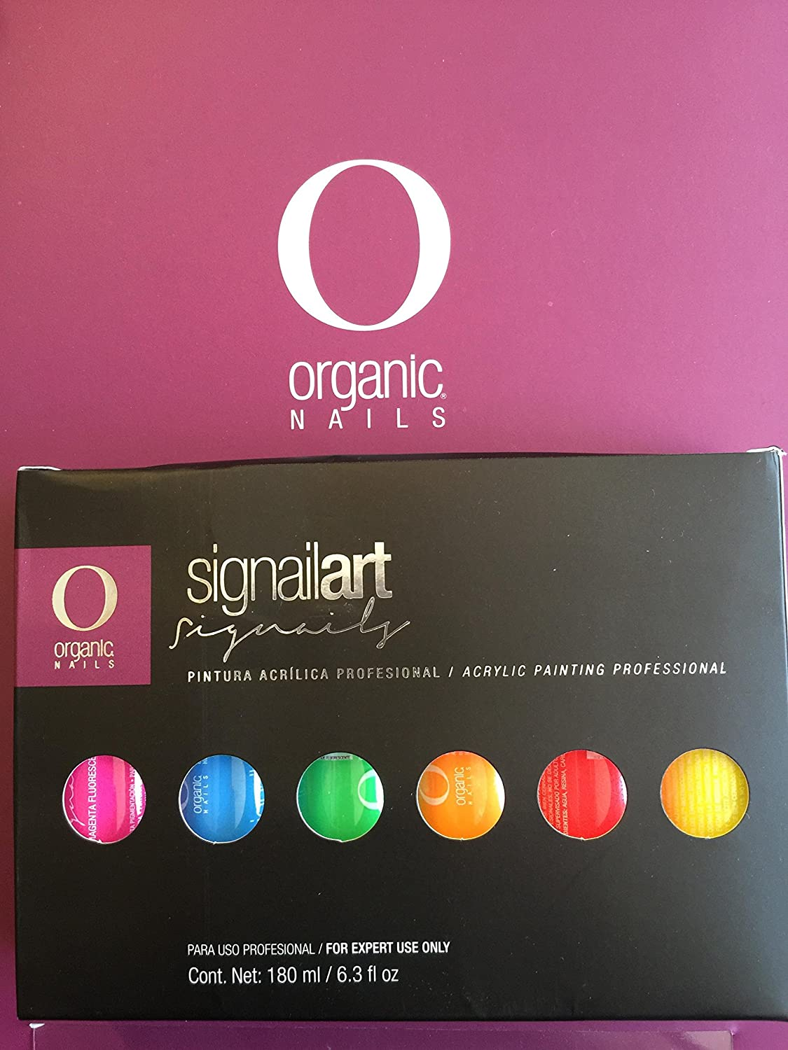 Amazon.com : Pintura Acrilica Organic Nails Set NEON CON 6pc Para One Stroke/mano Alzada : Beauty