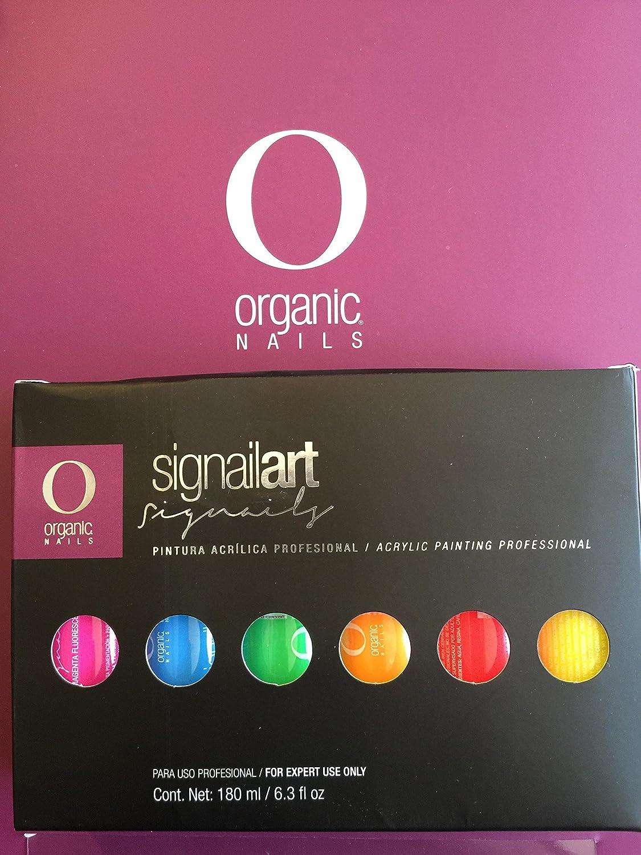 Amazon.com : Pintura Acrilica Organic Nails Set NEON CON 6pc Para ...