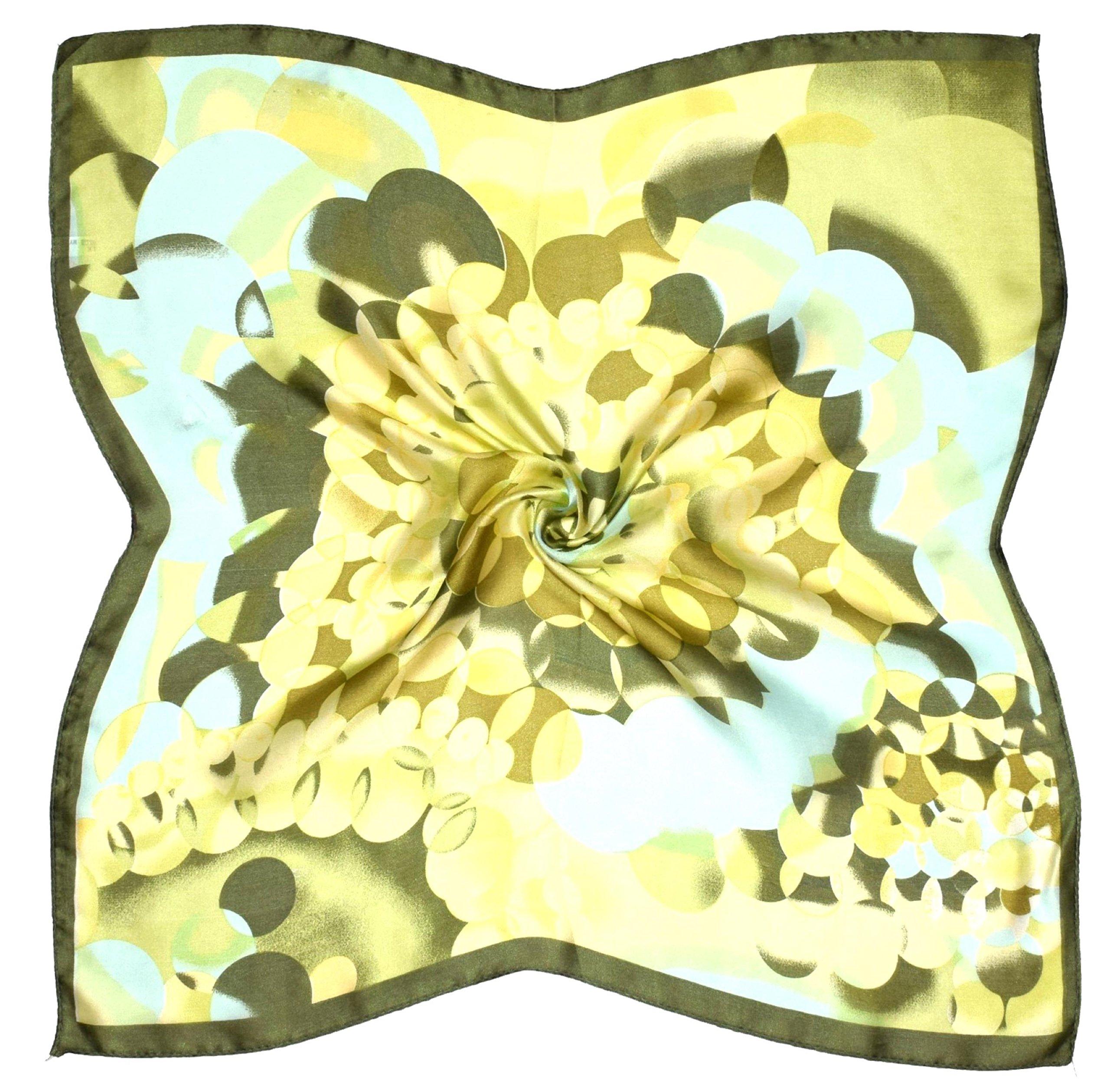 Khaki Green Abstract Print Small Fine Silk Square Scarf