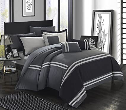 Ordinaire Chic Home Zarah 10 Piece Comforter Set Complete Bed In A Bag Pieced Color  Block Banding