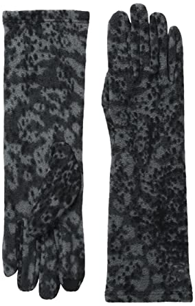 037d8f196 Cuddl Duds Women's Stretch Fleece Glove with Tech Fingertips, Black Spotted  Animal, One Size