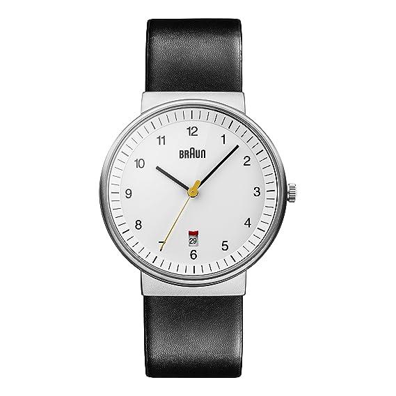 Braun BN0032WHBKG - Reloj análogico de cuarzo con correa de cuero para hombre, color negro