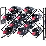 Finnhomy 10 Bottle Wine Rack with WINE Pattern, Wine Bottle Holder Free Standing Wine Storage Rack, 2-way Storage Original Design, Iron, Brozen