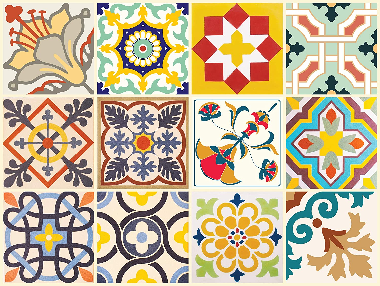 The Nisha 24 PC Pack Art Eclectic Peel and Stick Wall Sticky Backsplash Vinyl Waterproof Removable Tile Sticker Decals for Bathroom & Kitchen, 4x4 Inch, Cheerful 1282