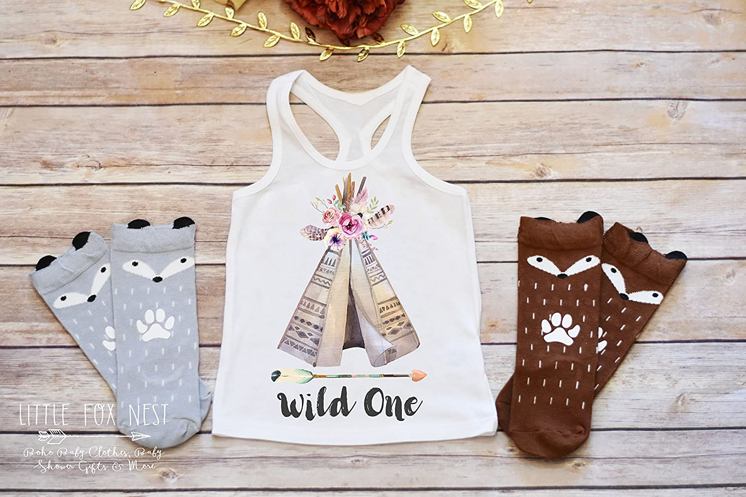 Boho Clothes, Tank Top, Wild One Shirt, First Birthday Girl Boho Baby Clothes, Fox Onesie