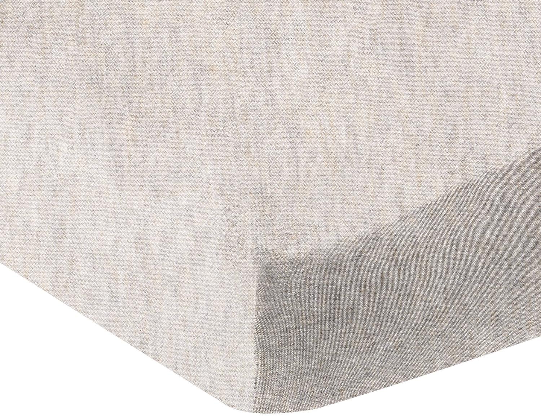 AmazonBasics Heather Jersey Fitted Crib Sheet Bedding, Chambray
