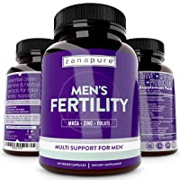 ZANAPURE Men's Fertility Supplement, Male Vitamin for Sperm Production, Libido Boost & Testosterone Support | D-aspartic Acid + Tribulus | Motility + Optimal Count + Conception Support, 60 Vegan Caps
