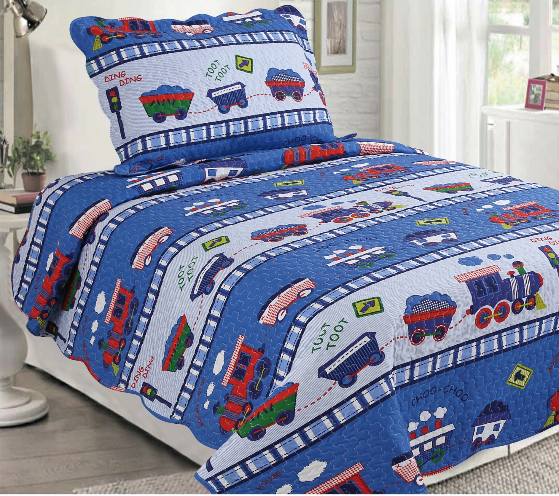 Golden Linens Twin Size 2 Pieces Quilt Bedspread Set Kids New Designs for Boys & Girls (Toot Toot Train(29)) by Goldenlinens