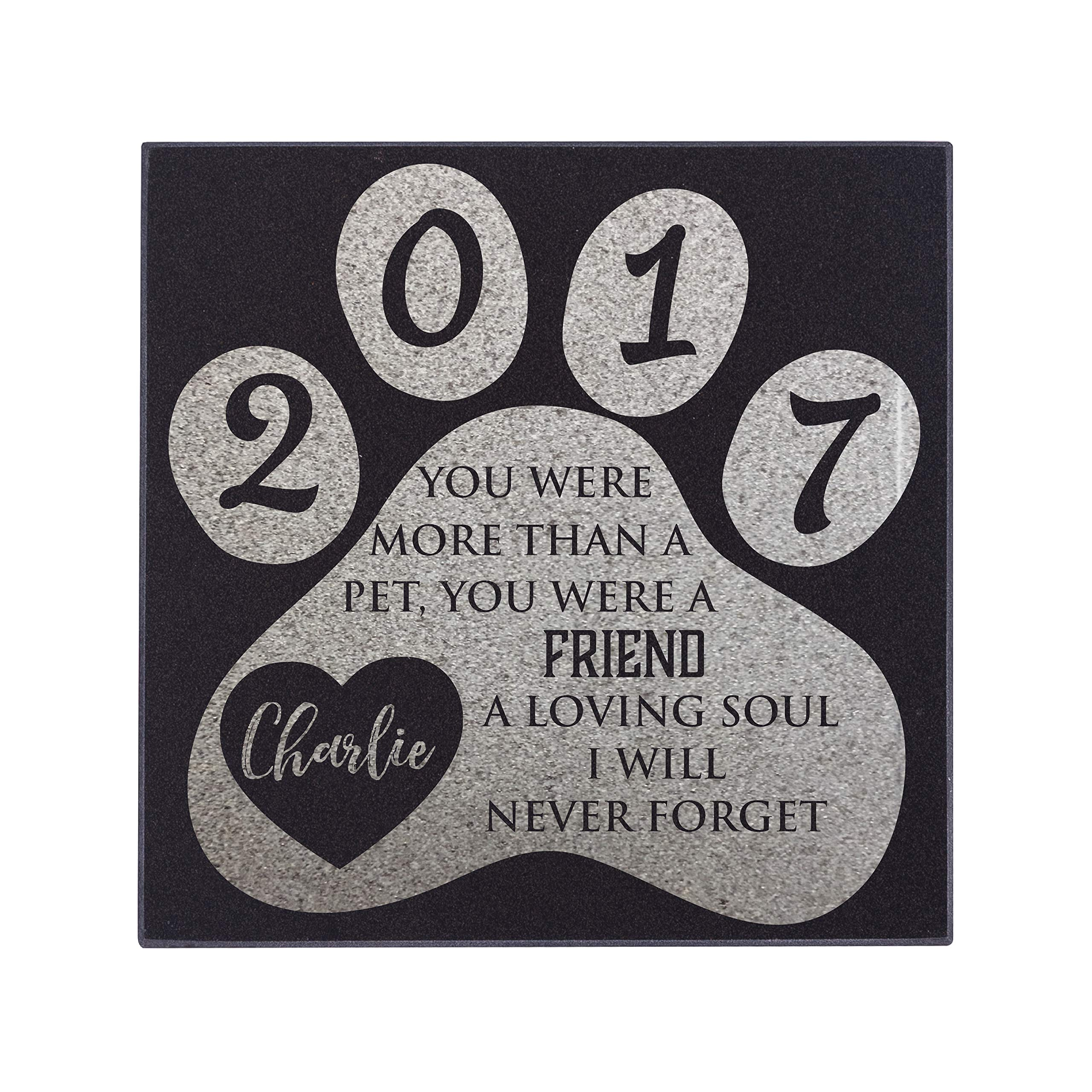Personalized Granite Pet Memorial Stone A Loving Soul Customized Tombstone - Loss of Pet Gift- Indoor Outdoor Dog or Cat for Garden Backyard 6'' x 6'' #9