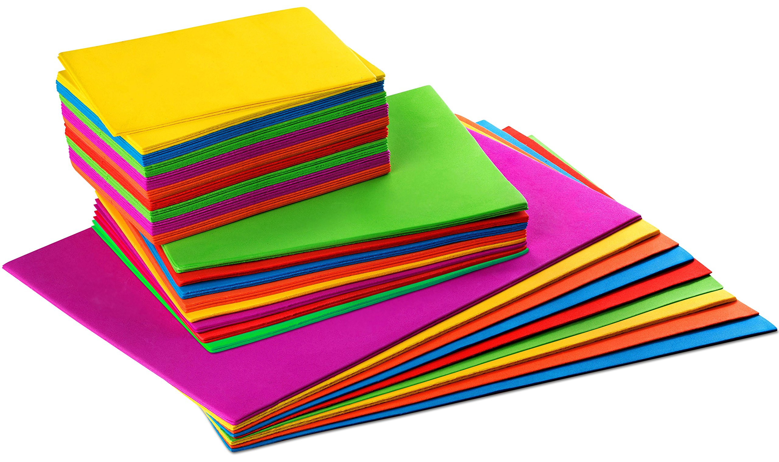 Set of 54 - Foam Craft Sheets, Kids Arts and Crafts Foam Paper, Rainbow Colors, 3 Sizes