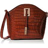 Womens Charlotte Croc Patent Leather Shoulder Bag Brown Cross-Body Bag Swankyswans