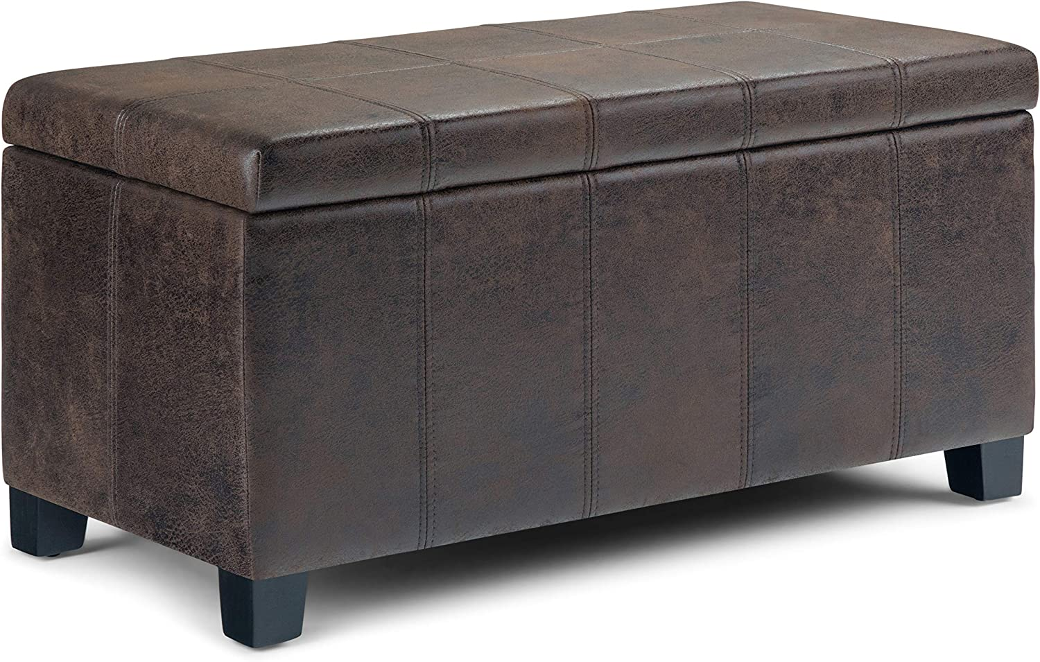 Simpli Home AXCOT-223-DBR Dover 36 inch Wide ContemporaryStorage Ottoman in Distressed Brown Faux Air Leather