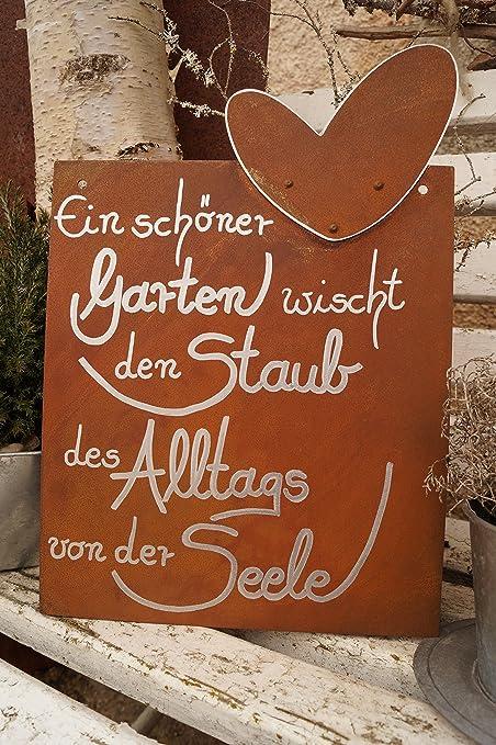 Dekostuberl Rostalgie Edelrost Tafel Mit Herz Ein Schoner Garten