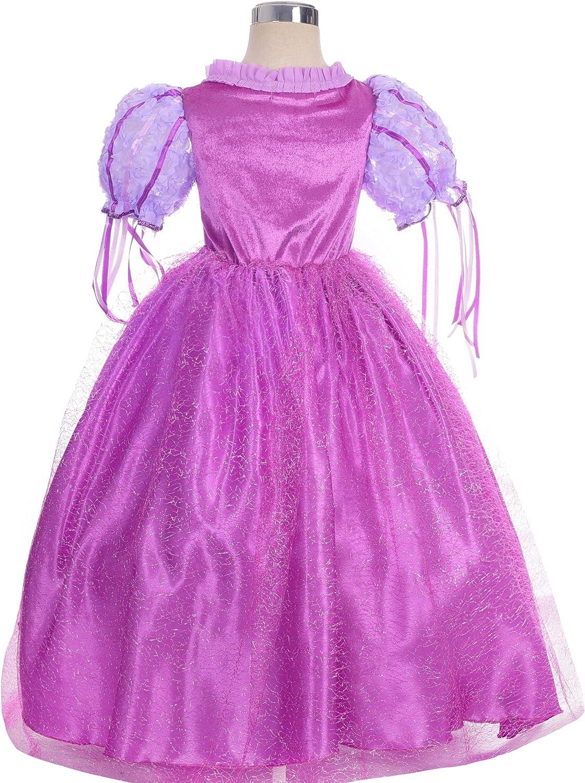 Lito Angels Fille Princesse Raiponce Robe Costume D/éguisement Manches Bouffants Anniversaire F/ête Halloween No/ël Partie Carnaval Cosplay 3-4 Ans