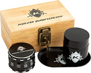 Kozo Wood Stash Box Kit with Rolling Tray, Locking Smell Proof Jar with Airtight Seal, Aluminium 4 Part Herb Grinder Set with Magnetic Lid, Padded & Engraved Wood Box with Lock and Keys