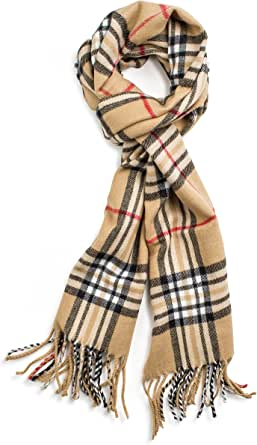 Veronz Soft Classic Cashmere Feel Winter Scarf Camel Plaid