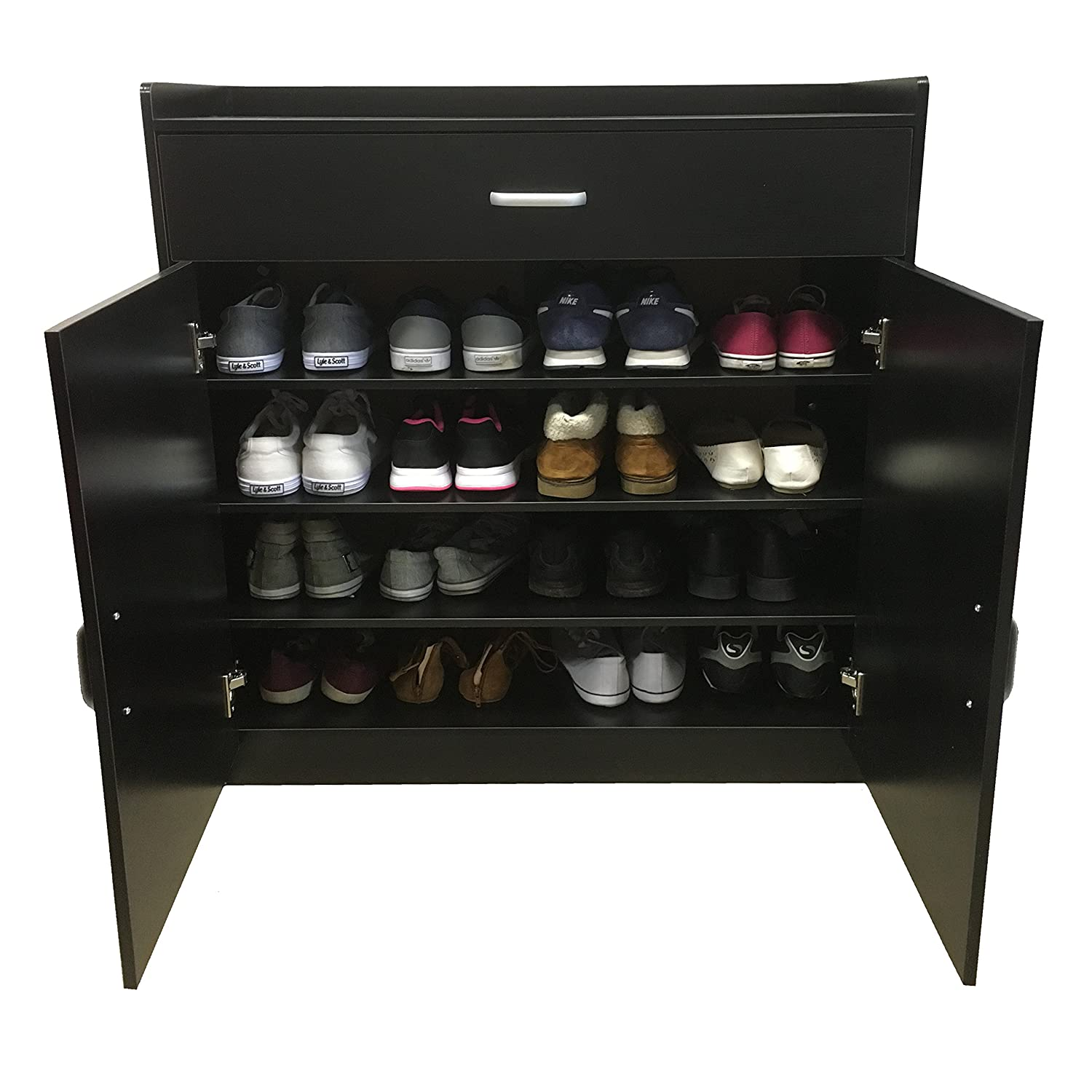 Redstone Black White Or Beech Shoe Storage Cabinet Rack Cupboard   4 Shelves  + 1 Drawer   Wooden Sideboard (Black): Amazon.co.uk: Kitchen U0026 Home