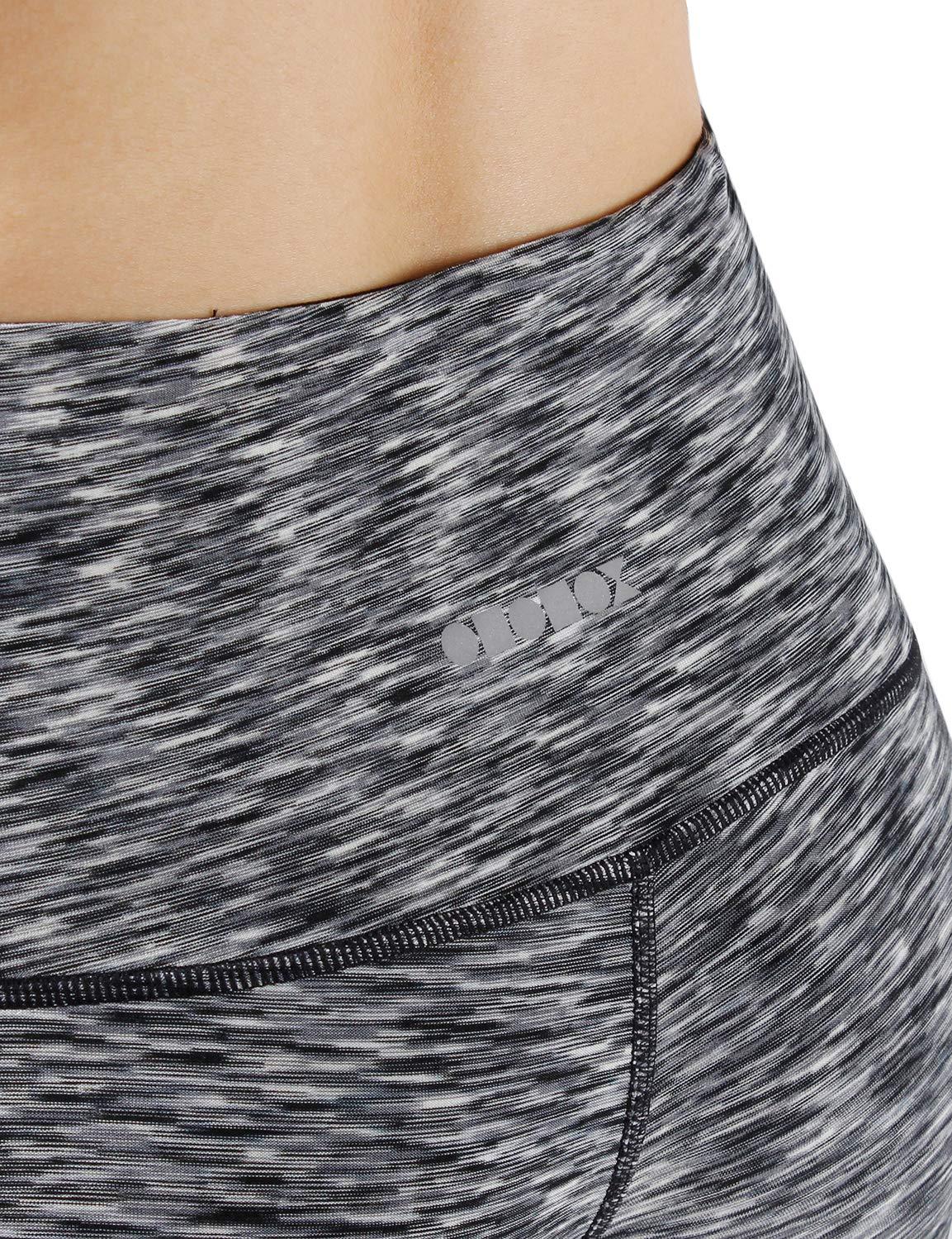 ODODOS High Waist Out Pocket Yoga Capris Pants Tummy Control Workout Running 4 Way Stretch Yoga Leggings,SpaceDyeBlack,X-Small by ODODOS (Image #5)