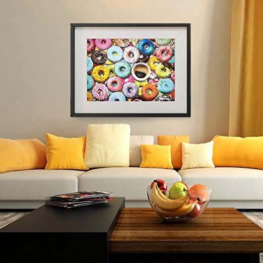 Donuts and Cupcakes Themed Puzzle for for Kids Adults Two in One Jigsaw Puzzle 1000 Piece Repeated Seamless Snacks 2 Packs Jigsaw Puzzle Adult Puzzles Premium Quality Recycled Material Jigsaw Puzzle
