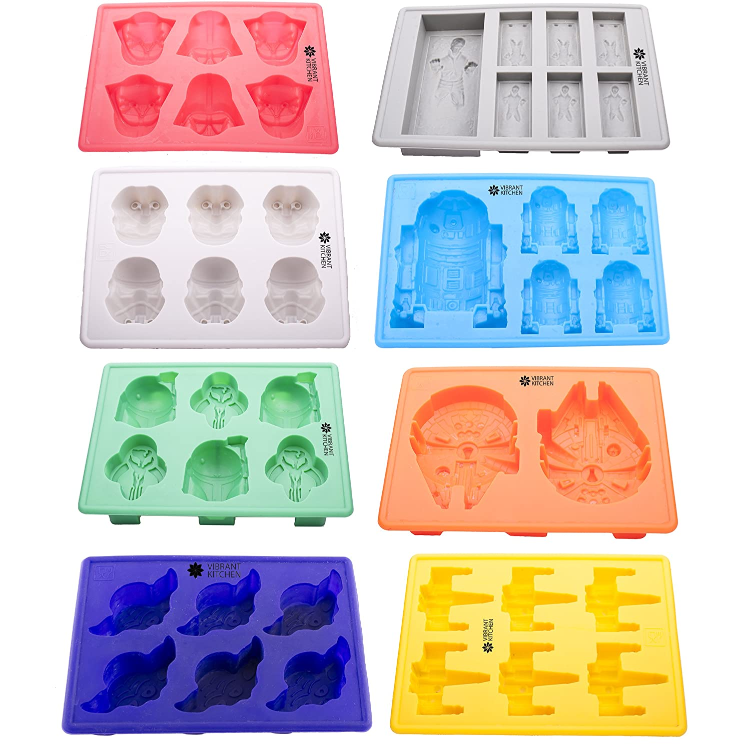 Set of 8 Star Wars Silicone Tray Ice Cube And Candy Mold by Vibrant Kitchen for Baking Candy And Soap Making & Gift E-book