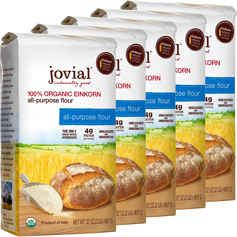Jovial Einkorn Baking Flour | 100% Organic Einkorn All Purpose Flour | High Protein | Non-GMO | USDA Certified Organic | Delicious Taste | Product of Italy | 32 oz (5 Pack)