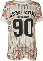 WearAll - Floral 'New York' imprimé base-ball t-shirt top à des manches courts - Hauts - Femmes - Tailles 36 à 42