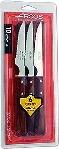 Arcos Serie Cuchillos de Mesa - Juego de 6 Cuchillos Chuleteros, Hoja Serrada de Acero Inoxidable NITRUM de 110 mm, Mango Madera comprimida, Color Marrón