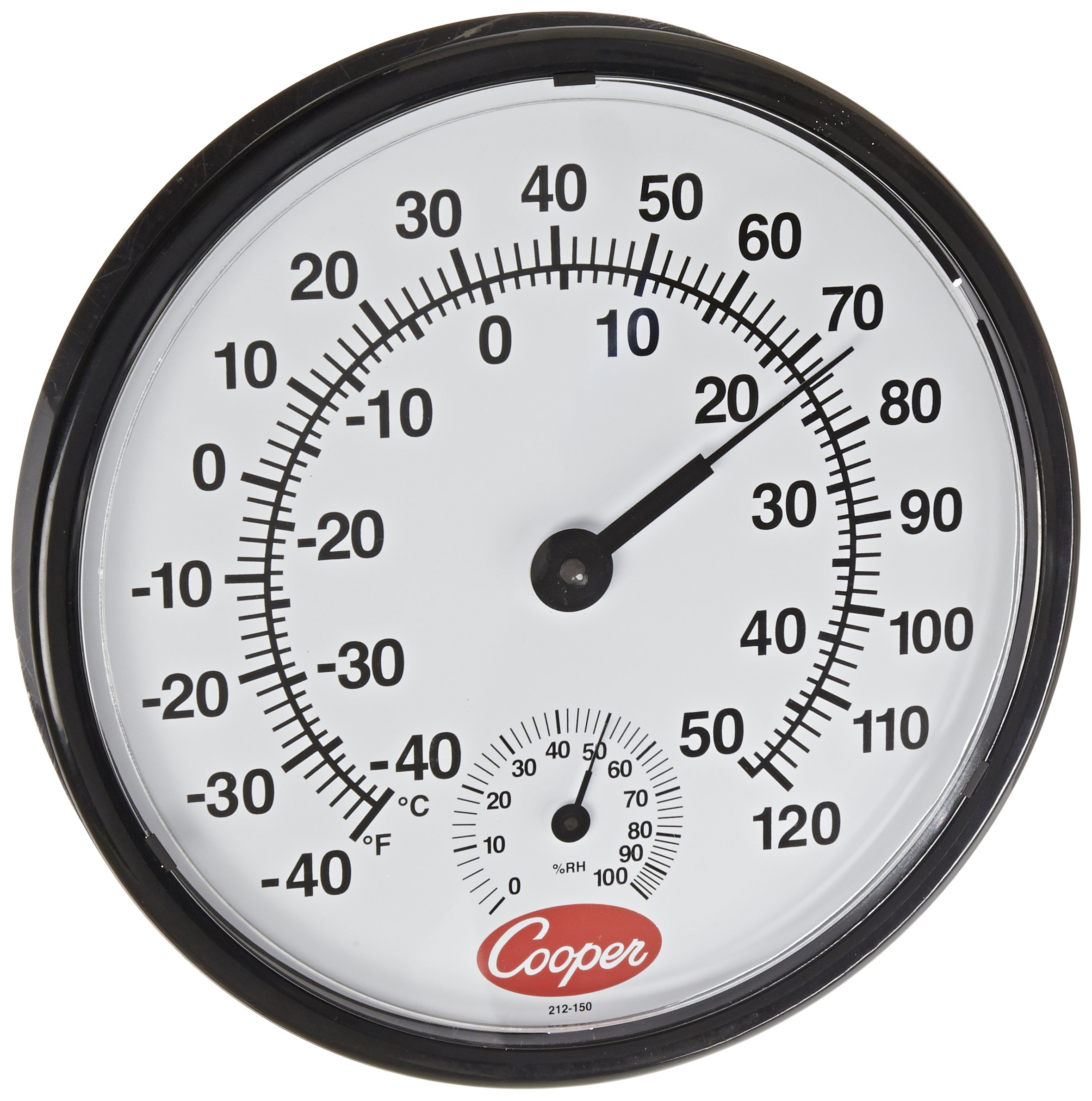 Cooper-Atkins 212-150-8 Bi-Metal Wall Mount Thermometer with Plastic Lens, Humidity Meter, -40/50°C Temperature Range by Cooper