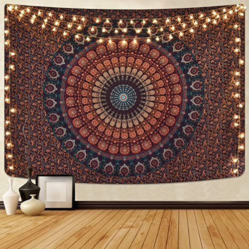 Mandala Tapestry Bohemian Hippie Tapestry Psychedelic Peacock Tapestry Wall Hanging Floral Brown Tapestry for Room 70.9 x 92.5 inches