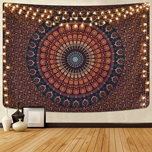 51.2 x 59.1 inches) Bohemian Mandala Tapestry Hippie Tapestries Psychedelic Peacock Boho Tapestry Wall Hanging for Bedroom(Blue