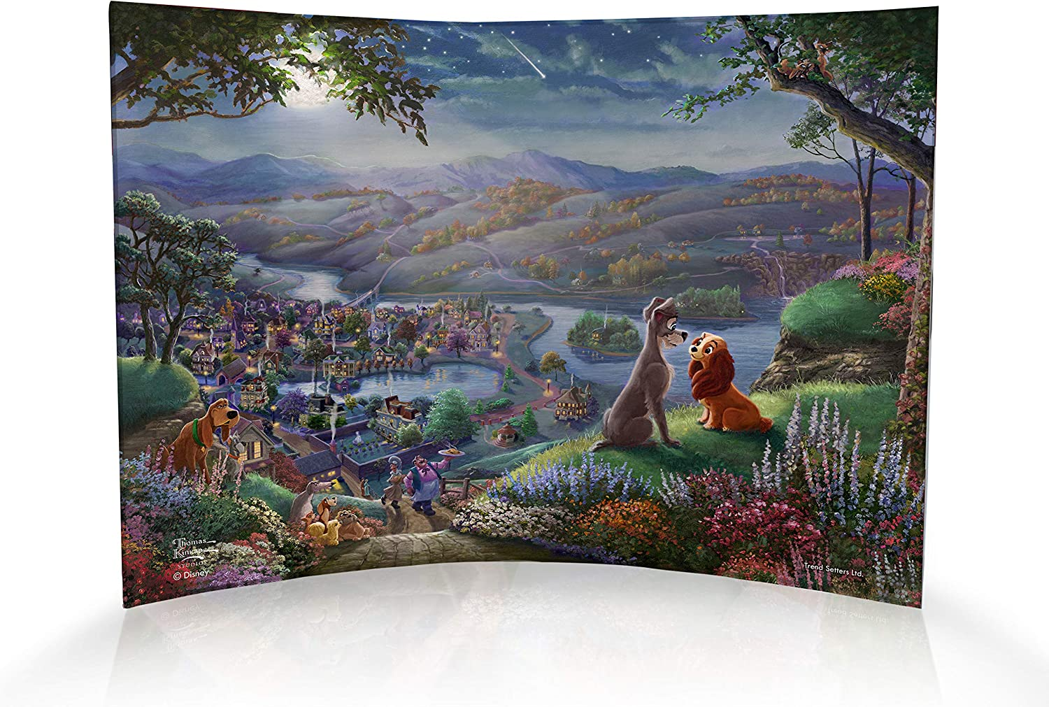 Amazon Com Trend Setters Disney Lady And The Tramp Tony And Friends Thomas Kinkade 10 X 7 Curved Acrylic Photo Print Free Standing Light Catching Photo Decor Ltd