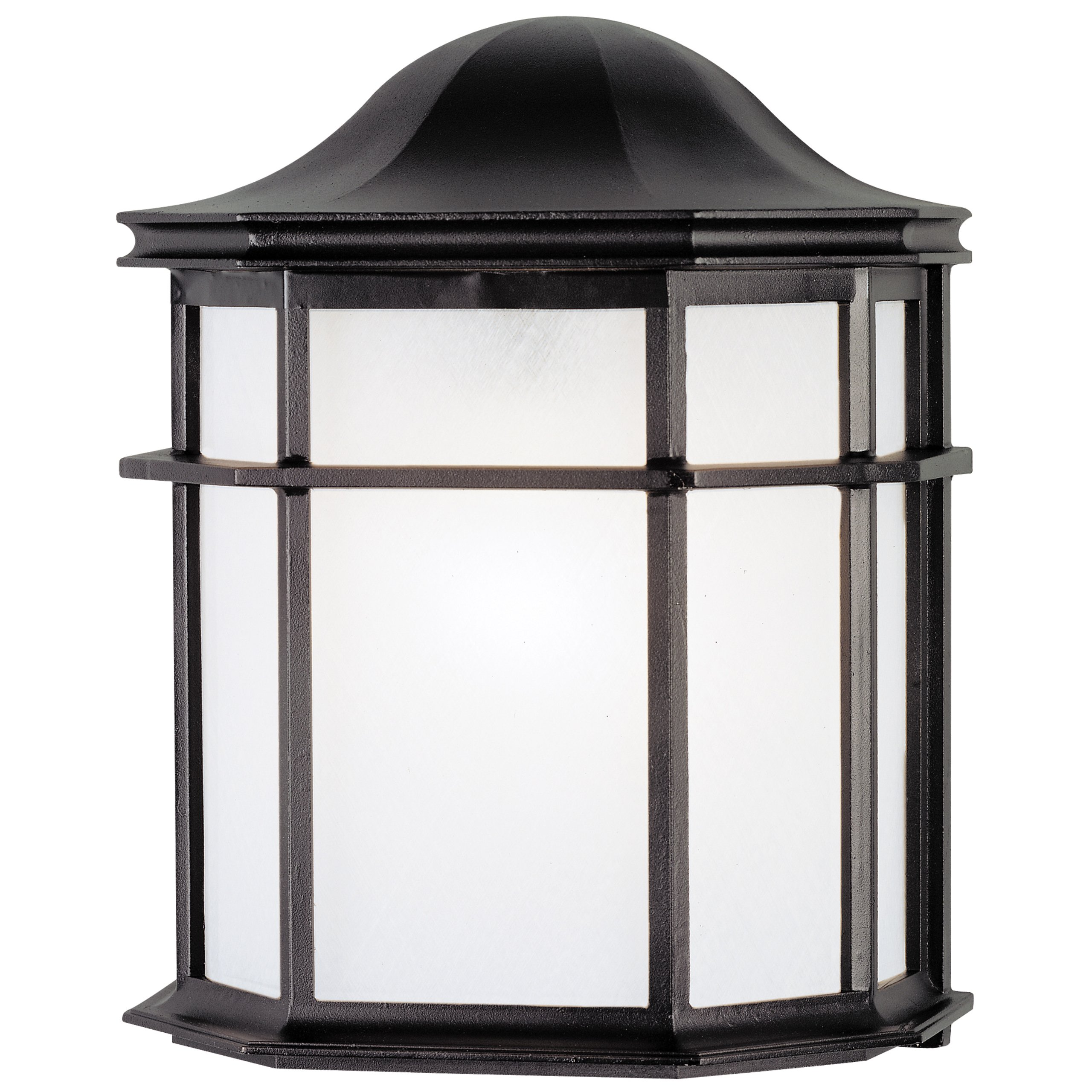 Westinghouse 6689800 One-Light Exterior Wall Lantern, Textured Black Finish on Cast Aluminum with White Acrylic Lens