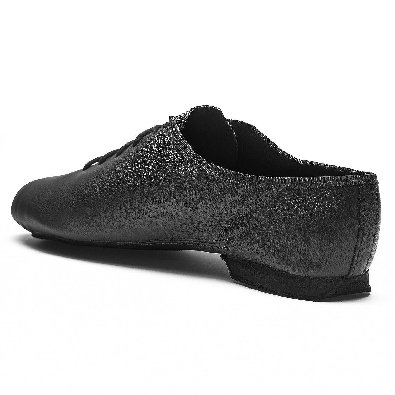 Rumpf Jazzschuhe Basic II 1270 für Gymnastik Jazz Tanz, Leder mit geteilter Chromledersohle Farbe schwarz, Gr??e 35