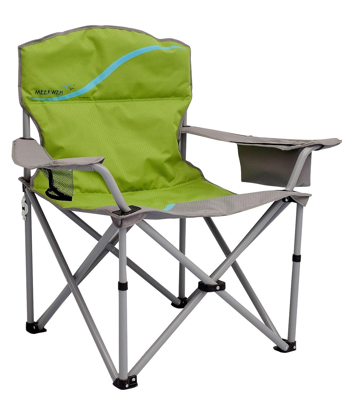 Meerweh La Mer Mal Chaise Pliante avec Porte-gobelet et Poche Isotherme Relax Camping Chaise P/êcheur XXL