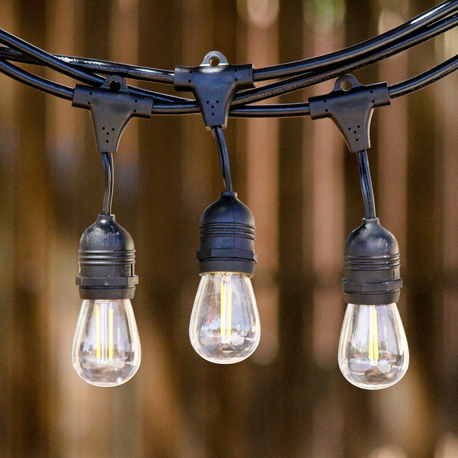 Amazon low e led outdoor string lights weatherproof amazon low e led outdoor string lights weatherproof commercial grade 15 hanging sockets 18 2 watt dimmable led bulbs 3 extra 10 ft ext workwithnaturefo