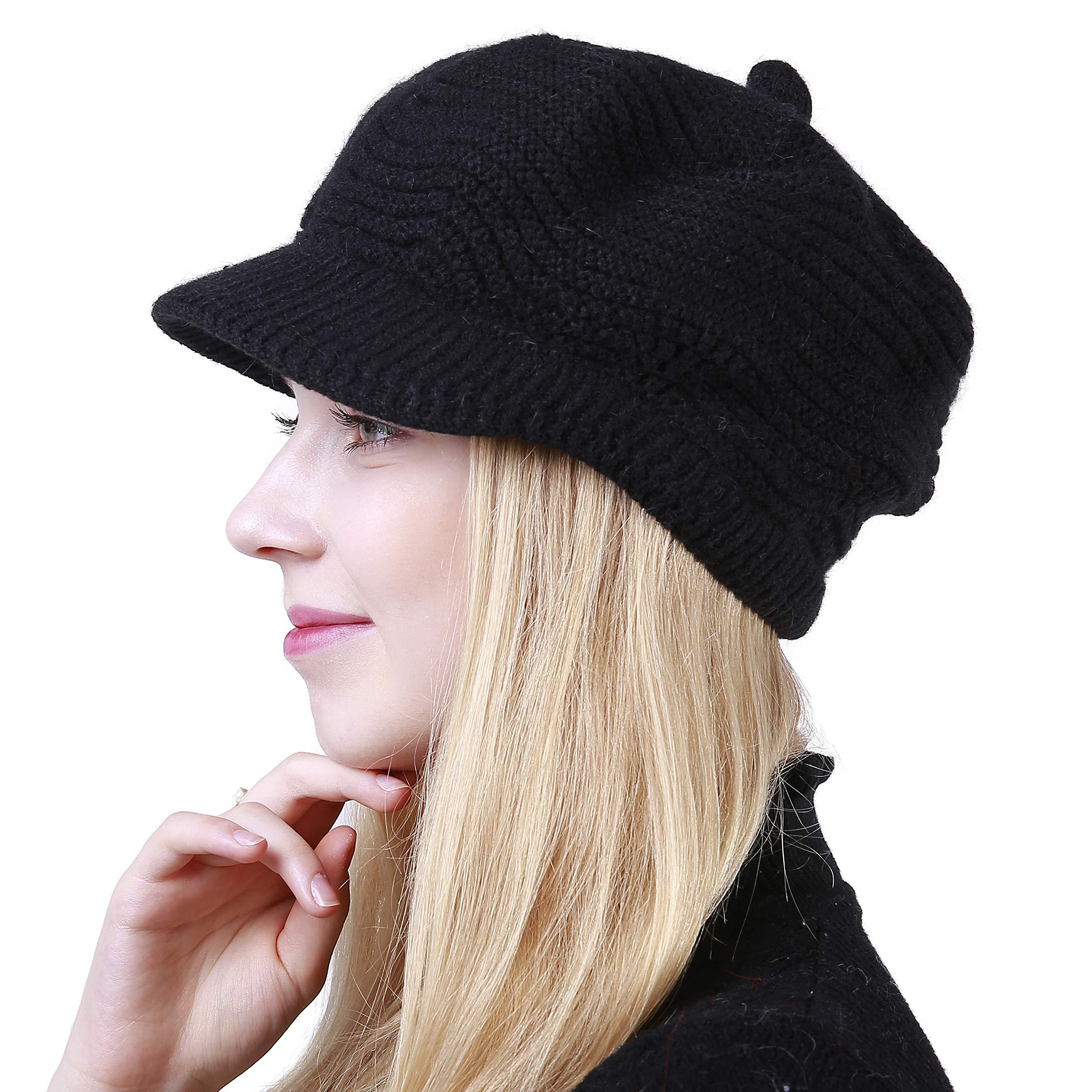 Women's Winter Hat Slouchy Cable Knit Visor Crochet Beanie Hats Warm Snow Ski Skull Cap with Brim Black