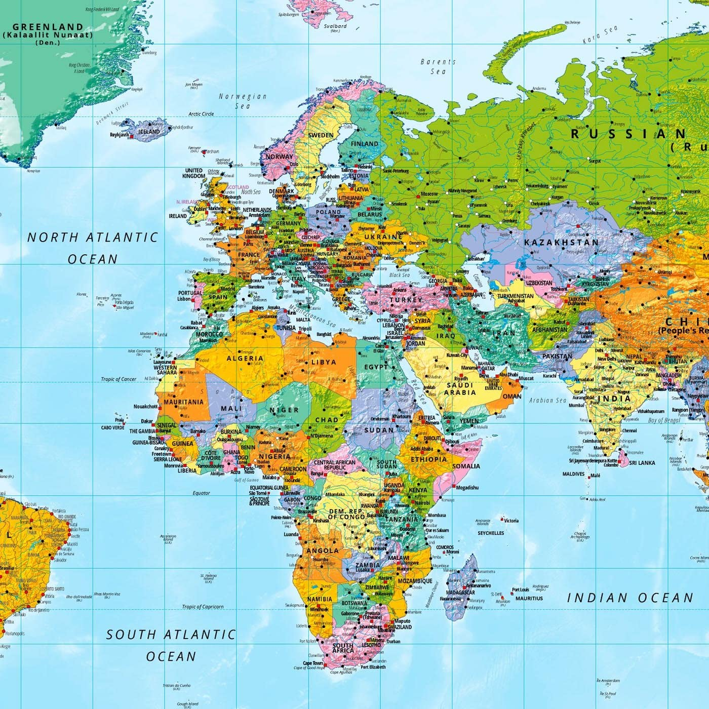 Large World Map XXL Poster with Flags and Banners – Top Quality (140x100 cm)